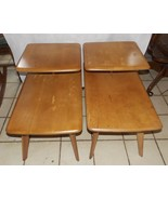 Pair Mid Century Birch Heywood Wakefield Step End Tables / Side Tables   - $599.00