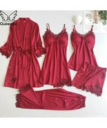 Women Silk 5pcs Lace Sexy lingerie Pajama Set Nightie Sleepwear Clothes ... - $59.98