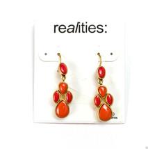 """Liz Claiborne REALITIES Goldtone Dangle Fire Red Pierced Earrings 1 1/2"""" New - $12.99"""