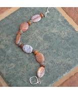 Turtleshell Jasper, Fire Agate Gemstones & Sterling Silver Bracelet - $37.99