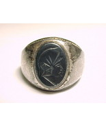 MEN'S HEMATITE Intaglio Vintage RING in Sterling Silver - Size 10 - $145.00