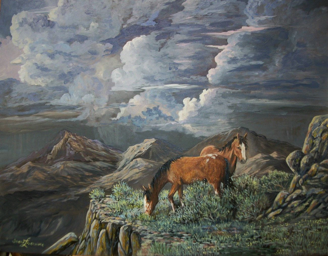 wild horses stormy cloudy sky western landscape realistic
