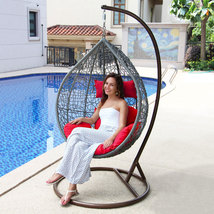 Island Gale Outdoor Brown Wicker Rattan Hanging Swing Egg Chair Hammock ... - $569.96