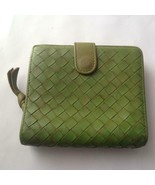 Authentic Bottega Veneta Green Leather Compact Wallet 4.5in x 4.5in - $90.20