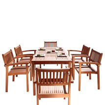Malibu Eco-Friendly 7-Piece Wood Outdoor Dining Set with Stacking Dining... - $718.32
