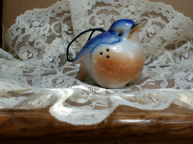 Porcelain BLUE BIRD SACHET or ORNAMENT - WONDERFUL & USEFUL ITEM!