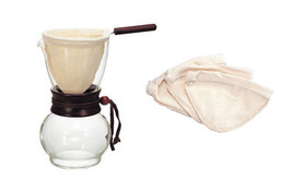 Hario V60 Drip Pot Woodneck and 3 Extra Cloth Filters (4 filters total) - $54.44
