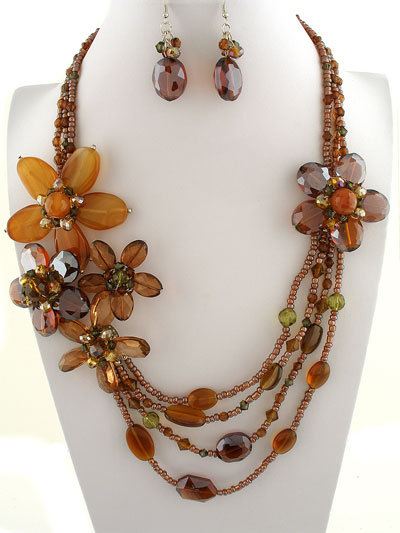 Flowers    60   ne231352  brown flower design  30l  stones  faceted crystals  lobster claw closure  lead   nickel safe