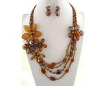 Flowers    60   ne231352  brown flower design  30l  stones  faceted crystals  lobster claw closure  lead   nickel safe thumb155 crop