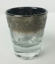 Libby Shot Glass Gray Smoke Fade Rim w/ Silver Glitter Filigree Embossed... - €19,91 EUR