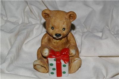 Homco Bear with Christmas Present 5505 Home Interiors