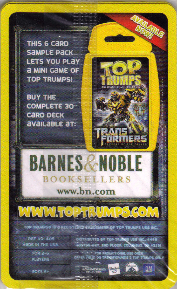 TRANSFORMERS TOP TRUMPS 6-Card Sample Pack