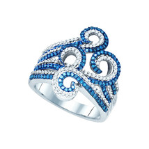 10kt White Gold Round Blue Color Enhanced Diamond Wide Swirl Curl Cockta... - $719.00