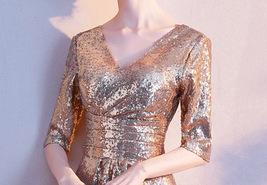 Knee Length Black Gold Sequin Dress Sleeved V Neck Sequin Dress Wedding Dress image 12