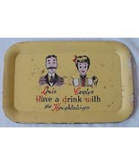 Very Charming Vintage Drinks Tray 'The Hougtalings' - $9.95