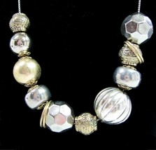 BEAD Chain NECKLACE Vintage Odd Asymmetrical Bead Silvertone Goldtone F... - $16.99