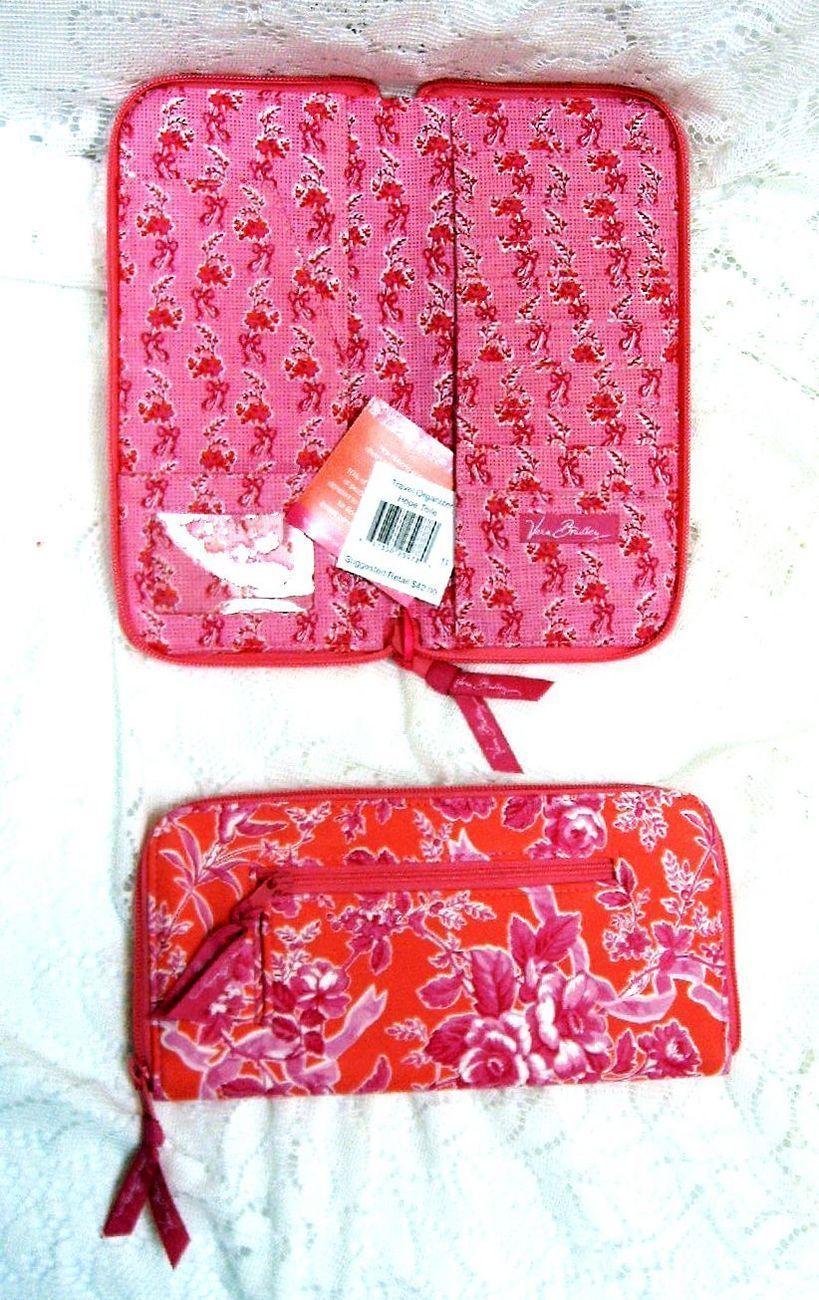 Vera Bradley Travel Organizer Hope Toile Pink Wallet Zipper Passport id Slot Nwt Vera Bradley