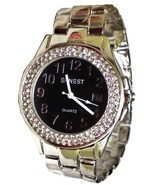 LUX SILVERED WATCH-METAL BAND-BIG BLACK DIAL DATE.STRASS - $19.00