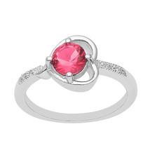 925 Sterling Silver Round Cut Red CZ Stone Stackable Band Heart Shape Wo... - $14.57