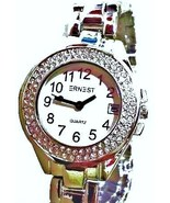 LUX. SILVERED WATCH-METAL BAND -BIG WHITE DIAL.DATE .STRASS - $19.00