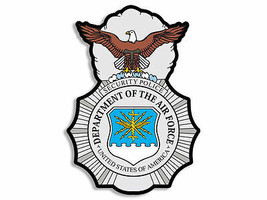 "4"" AIR FORCE SECURITY FORCES POLICE BADGE MILITARY STICKER DECAL MADE IN... - $16.14"