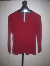 GAP LADIES RED LS V-NECK HIGH WAIST PULLOVER SWEATER-JR L-Cotton/Cashmer... - $4.99