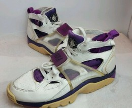 Vintage 90's Nike Air Trainer Huarache 1993 Shoes 7.5 White Purple 91110... - £41.63 GBP