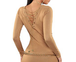 Womens Khaki Knit V Neck Chain Lace up Back Sweater Top