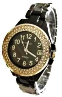 LUX. SILVERED WATCH-METAL BAND -BIG WHITE DIAL.DATE .STRASS