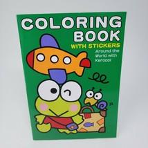 Vintage 1995 Sanrio Keroppi Frog Stationary Coloring Book Around World Stickers - $26.65