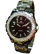 LUX.BLACK WATCH-METAL BAND-BIG BLACK DIAL DATE.STRASS - $19.00