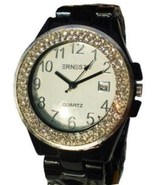 LUX.BLACK WATCH -METAL BAND-BIG BLACK DIAL .DATE.STRASS - $19.00