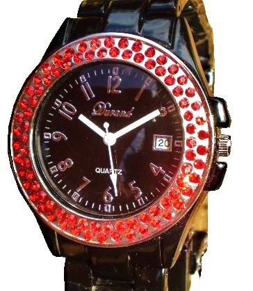 LUX.BLACK WATCH -METAL BAND-BIG BLACK DIAL .DATE.STRASS