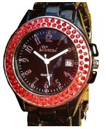 LUX.BLACK WATCH -METAL BAND-BIG BLACK DIAL .DATE.STRASS - $17.00