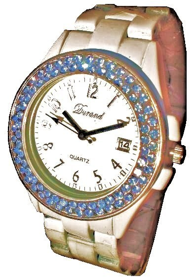 LUX. WHITE WATCH-METAL BAND -BIG WHITE DIAL.DATE .STRASS