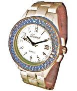 LUX. WHITE WATCH-METAL BAND -BIG WHITE DIAL.DATE .STRASS - $17.00