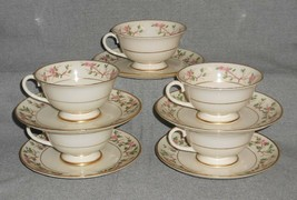 Set (5) Franciscan China WOODSIDE PATTERN Cups and Saucers CALIFORNIA - $29.69