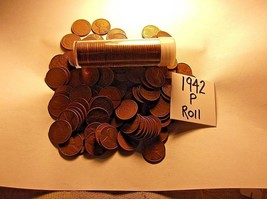 1942-P LINCOLN WHEAT *ROLL !! AVERAGE to GOOD !! 50 ctn.ROLL *See Item D... - $8.00