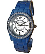 BLUE FASHION CLIP BAND WATCH WHITE DIAL - $13.99