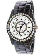 BLACK FASHION CLIP BAND WATCH WHITE DIAL - $14.99