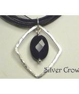 Black Onyx Gemstone & Argentium Sterling Silver Necklace - $13.99