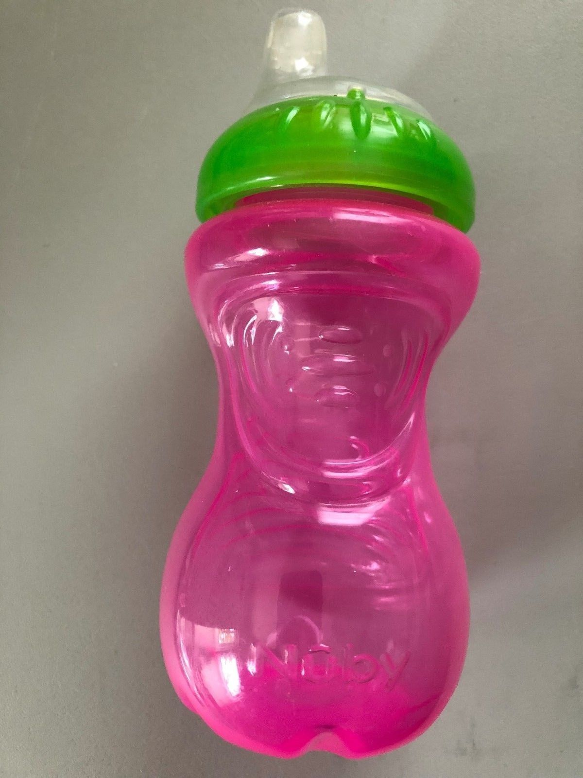 Nuby No-Spill Sipper the Gripper Toddler Cup 10-Ounce Pink with Green/Clear Top - $4.46