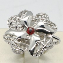 925 STERLING SILVER RING WITH WORKED BIG FOUR LEAF CLOVER BY MARIA IELPO image 1