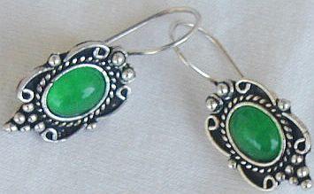 Small green earrings
