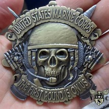 "MARINE CORPS 1ST TANK BATTALION 2.5"" 3D CHALLENGE COIN THE FIRST ROUND I... - $27.07"