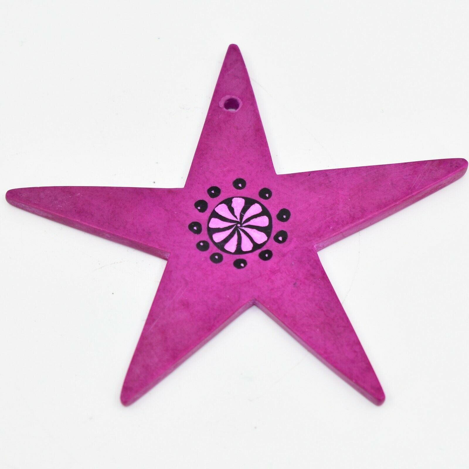 Tabaka Chigware Hand Carved Kisii Soapstone Fuchsia Star Christmas Tree Ornament