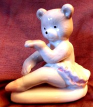 BEAR Ballerina blowing Kiss ceramic with white & pink tutu over 3 inches... - $9.89