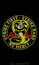 Cobra Kai Strike First Karate Kid 3'x5' Black vertical Flag USA Seller s... - $25.00