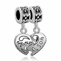 ? 925 Sterling Silver Heart Mother Son Charm Beads Pandora Bracelet Mom Love ? image 4