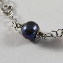 .925 RHODIUM SILVER BRACELET WITH FRESHWATER PEARL GRAY AND PURPLE CRISTALS image 3